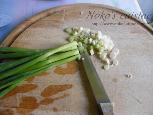 Cut the green onion