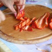 Cut the red pepper