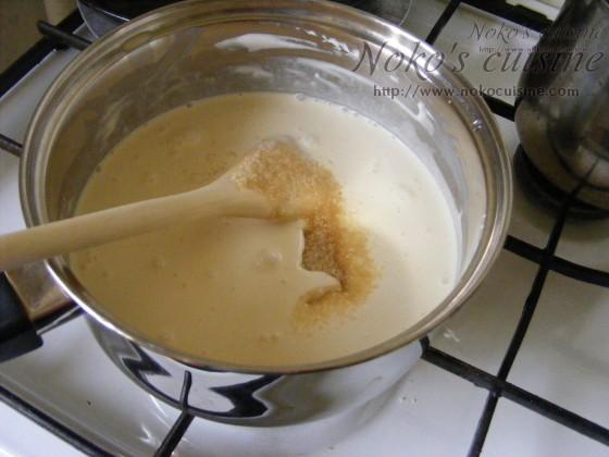 Milk, heavy cream and sugar cane