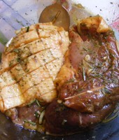 mix all the marinade ingredients and cover the meat with it